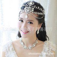 新款新娘饰品批发韩式水钻宝石新娘额饰 皇冠结婚婚纱配饰