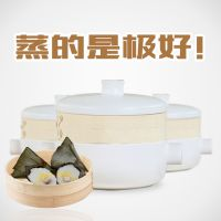 出口日本锂辉石耐高温石锅蒸煮两用蒸笼锅 不粘锅 2.5升圆耳蒸笼砂锅 蒸锅