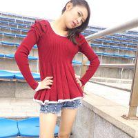 2015秋装新款韩版荷叶边修身显瘦纯色毛衣 女式长袖上衣打底衫潮