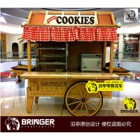 泊亭广告有限公司饼干蛋糕实木移动零售花车 糕点蛋挞巧克力咖啡木质零售花车