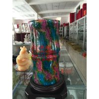 河北七彩玉花瓶摆件天然火山玄武岩石雕工艺品商务礼品花器包邮