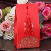 创意金粉喜糖盒婚宴婚礼糖果纸盒婚庆用品中号红烫金婚喜糖盒14g