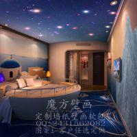 酒店主题壁画|客房主题装饰效果|宾馆床头墙画