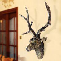 创意家居壁饰复古工艺墙面挂件欧式树脂装饰品仿真鹿头工艺品壁挂