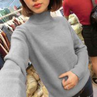 韩版2014秋冬季女装新款中高领长袖仿羊绒毛衣针织打底衫
