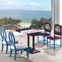 上品工厂直销SP-CT685高档酒店餐厅桌椅 实木家具定制 彩绘印图餐椅