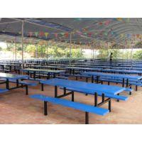 康腾厂家直销食堂餐桌椅 简约连体桌椅 八人位餐桌椅 款式规格可定制