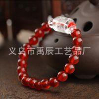 A级天然红玛瑙手链 六字真言水晶桶珠 佛珠手串 佛教用品饰品批发