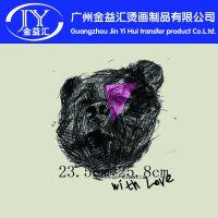 手绘版黑熊图案 服装箱包热转印热升华烫画供应