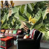 抽象油画客厅卧室壁纸个性手绘热带植物大型壁画电视背景餐厅墙纸