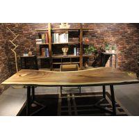 胡桃木烘干实木大板 现代简约生态美式 南美花梨家装设计师桌家