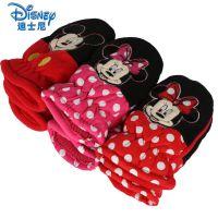 儿童手套冬款女童 迪士尼卡通可爱滑雪防风手套宝宝手套加绒保暖