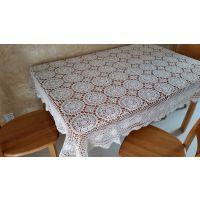 外贸钩针大工10/3棉线长方形桌布