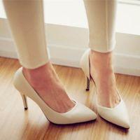 15韩版白色尖头细高跟鞋春夏真皮女鞋婚鞋黑色工作鞋女浅口单鞋