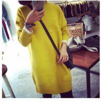 2014秋冬新款韩版女装中长款拉毛毛衣打底针织连衣裙