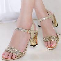 夏季新款一双代发女士凉鞋高跟粗跟亮片夜店鞋韩版时尚真皮女鞋潮
