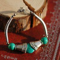 中国风原创手工民族饰品 名族风藏银米勒绿松石珠子手链