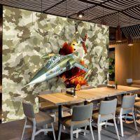 餐厅背景墙迷彩pvc墙纸 网吧沙漠迷彩3d壁纸 KTV主题立体飞机壁画海星