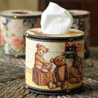 欧式外贸创意圆柱纸巾盒 家居纸巾抽餐巾纸盒 纯手工木皮质批发
