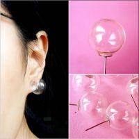2元店 时尚简洁大方玻璃气泡透明zipper搞怪个性手作原创软妹耳钉