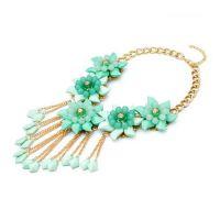 速卖通 eBay 果冻 bib 项链  绿色  花朵  水晶亚克力  果冻项链