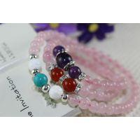 【新品】天然粉水晶手链 绿松石 砗磲 紫晶 红玛瑙混搭原创手链