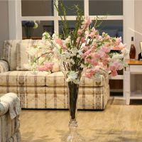 橡树庄园 长枝浪漫枝垂樱花仿真花假花装饰花 会所装饰花瓶插花