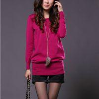 2014春秋新款韩版中长款低圆领纯色针织衫打底衫套头毛衣女装批发