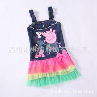 现货外贸女童裙 公主裙 佩佩猪 Peppa pig 牛仔背带女童无袖 PP01