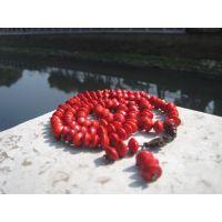 厂家直销红豆相思豆横孔佛珠项链108颗手串 粒粒鲜红如血心型