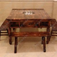 质量保证 美式乡村复古实木火锅餐桌 四人位休闲餐桌子 可定做