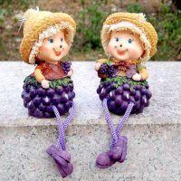树脂人物摆件田园家居饰品隔板摆件 葡萄稻草人吊脚娃娃树脂娃娃