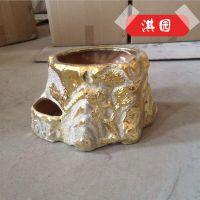新款上市 优质电镀金色陶瓷花盆 年年有鱼电镀陶艺花盆