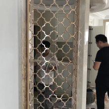 陕西别墅客厅铝艺雕花屏风 仿金亮面屏风生产
