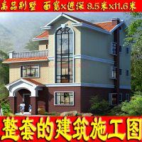 法式风格二层砖混实用新农村自建房屋设计图8.5x11.6米