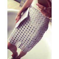 小银子2015夏装新款韩版设计感显瘦水溶蕾丝包臀半身裙女Q5448
