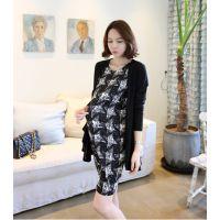 韩国孕妇装2014秋装新款高端修身孕妇连衣裙两件套韩版潮妈A539
