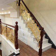 装修铝斜型护栏订做 圆弧楼梯铝雕花护栏销售