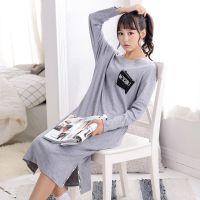 一件代发 春秋女装可外穿长款睡裙纯棉长袖休闲字母睡衣睡裙6614