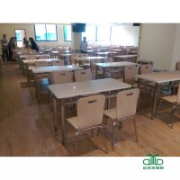 四脚不锈钢稳固快餐店桌椅 新款食堂餐厅桌椅定制上市 优质耐用餐饮家具运达来直销