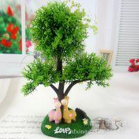 仿真树带树脂小动物 新款仿真假树球 卡通摆件 家居装饰品工艺品