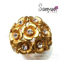 欧美国家常出口饰品 电镀真金戒指 欧洲出口标准点钻首饰