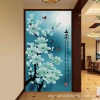 品牌代理加盟厂家 玉兰花玄关图 定制大型壁画电视背景墙纸
