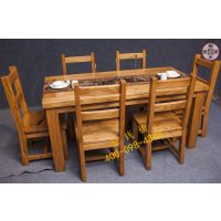 金钱榆榆木世家老榆木现代中式餐厅家具长方型镂花餐桌