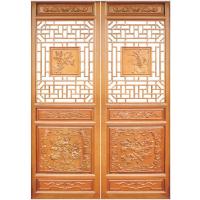 北京天一古建厂家定制手动开启实木隔音中式仿古橡木花格门窗,雕花整套门窗
