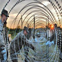 武汉郊区别墅外围防盗浸塑刀片刺绳围网院墙50公分圈径钢丝网