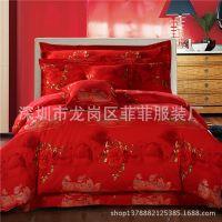 供应款印花床品 婚庆床上用品七件套大红色喜庆床品厂家批发 订做