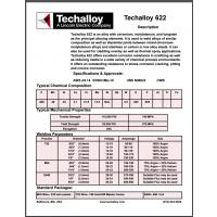 美国泰克罗伊Techalloy 622 镍基焊丝 ERNiCrMo-10 焊丝