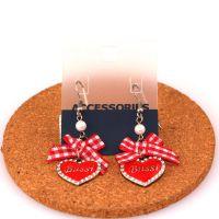 欧美外贸饰品批发 精美字母心形镶钻蝴蝶结红色格珍珠耳环耳饰