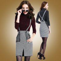 一件代发欧洲站2015秋冬新款女装修身打底衫格子半身裙两件套套装